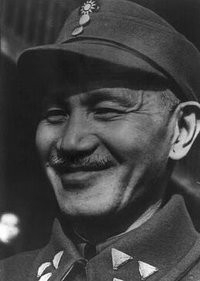 Generalissimo Chiang Kai-shek (pictured here in March 1945) was severely weakened in power by the Second Sino-Japanese War.