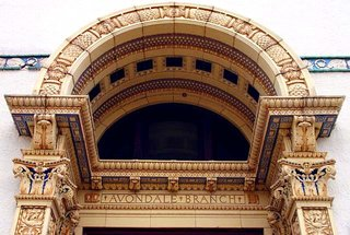 Detail of the entrance to the Carnegie library pictured above