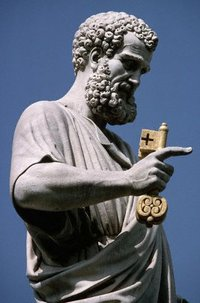 Saint Peter is usually depicted in art holding the keys to the gates of heaven.