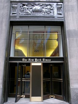 The New York Times' main offices at 229 West 43rd Street in .