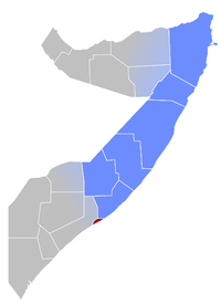 Map of Somalia with Puntland roughly highlighted in blue