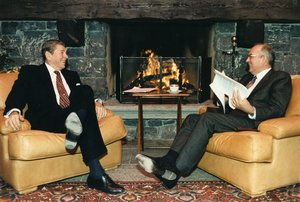 Reagan, left, in one-on-one discussions with , the General Secretary of the Communist Party of the USSR from 1985 to 1991.