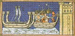 King Louis IX of France leads the capture of Damietta in 1249 in the Seventh Crusade.