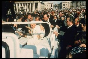 The Pope was shot while riding in popemobile