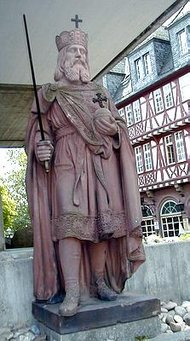"Statue of  (also called Karl der Gro�e, ""Charles the Great"") in , ."