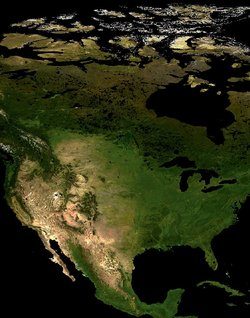 The Great Lakes are clearly visible in this satellite image of North America