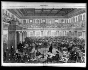 The Senate has the power to try impeachments. Shown above is the impeachment trial of .