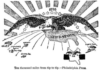 "1898 : ""Ten Thousand Miles From Tip to Tip"" meaning the extension of U.S. domination (symbolized by a ) from Puerto Rico to the Philippines. The cartoon contrasts this with a map of the smaller United States 100 years earlier in 1798."