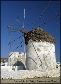 Windmills on the Island of Myconos, Greece. Image provided by Classroom Clip Art (http://classroomclipart.com)