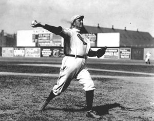 "Cy Young warming up for Boston in 1908, the first year they were called the ""Red Sox"""
