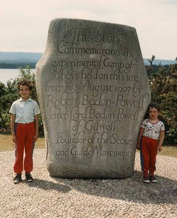 The stone on Brownsea Island, Poole Harbour, England, commemorating the first Scout camp.