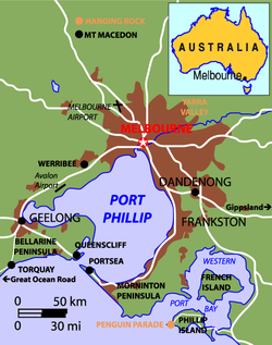 Map of greater Melbourne