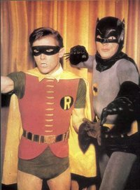 Burt Ward as Robin and Adam West as Batman from the 1960s television series