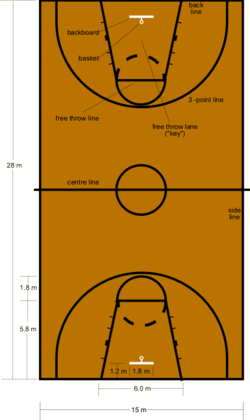 A diagram of a FIBA basketball court.