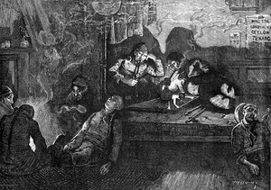 "Opium smokers in an ""opium den"" in the East End of London, 1874."